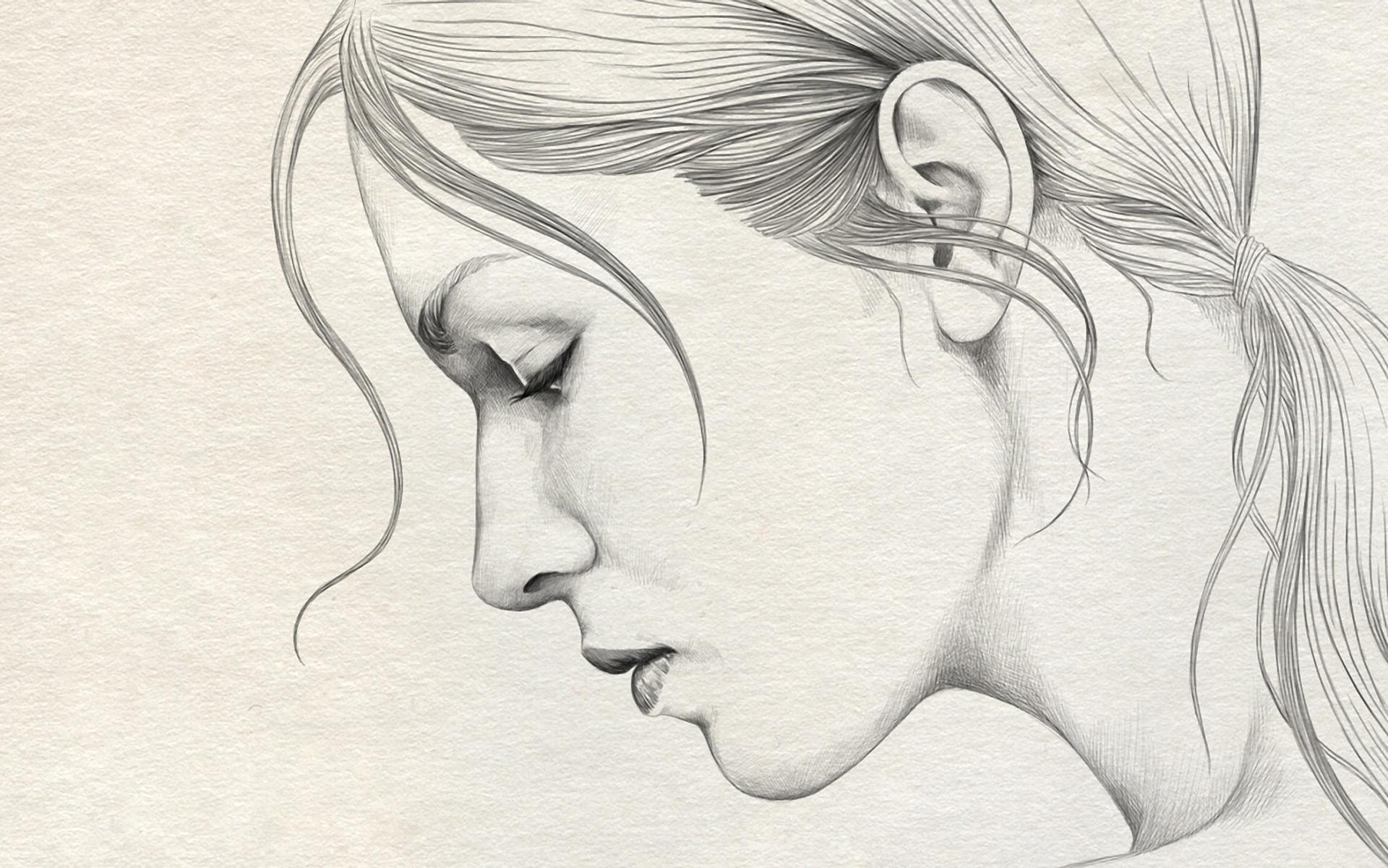 1920x1201 Pencil Sketch Of Simple Girl