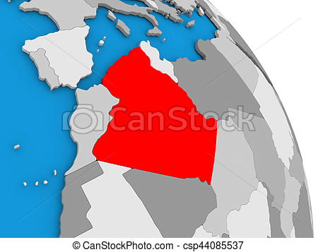 450x357 Algeria On Globe. Algeria Highlighted In Red On Simple Globe