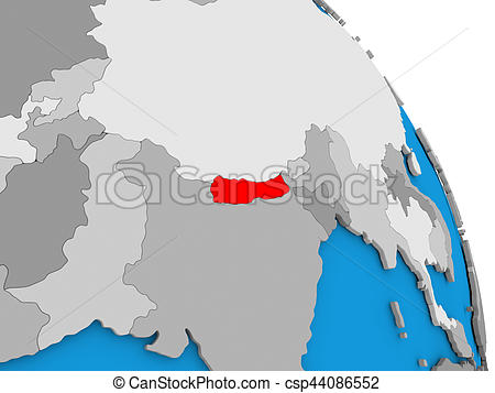 450x357 Nepal On Globe. Nepal Highlighted In Red On Simple Globe Stock
