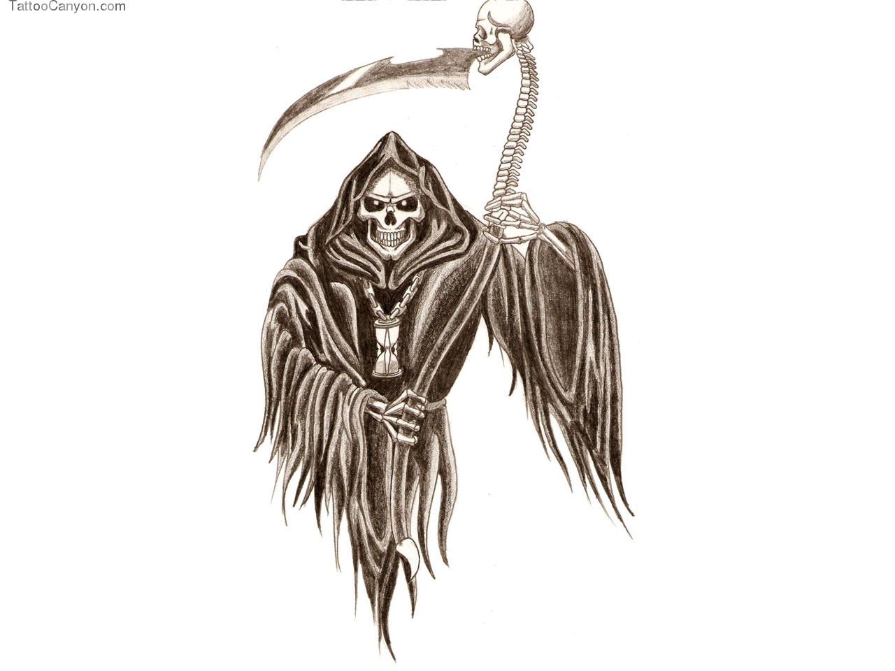 1280x960 Simple Grim Reaper Tattoo A Grim Reaper Skeleton With A Scythe