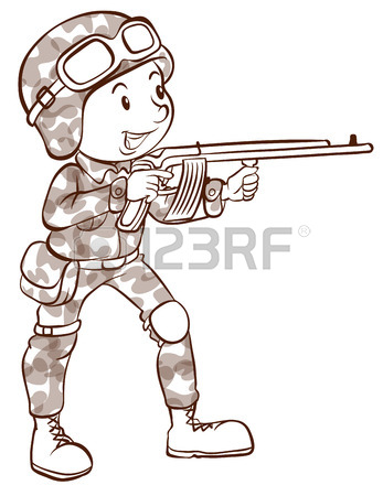 347x450 Illustration Of A Simple Sketch Of A Brave Soldier On A White
