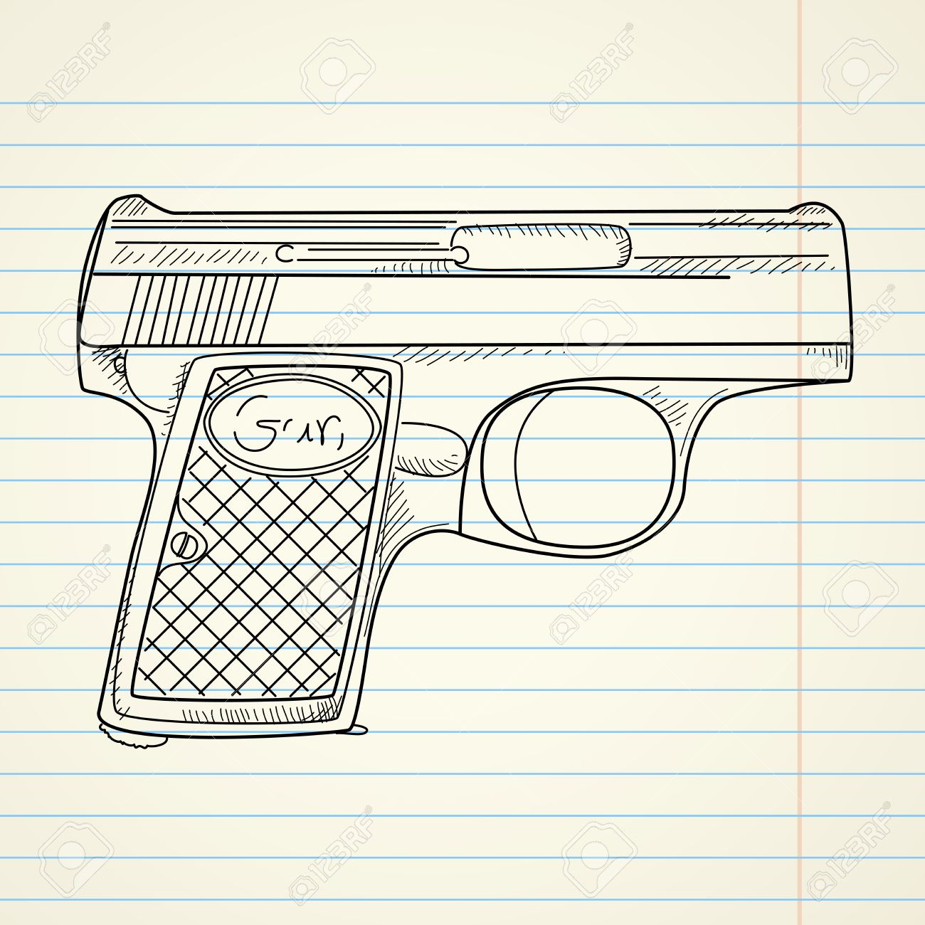 1300x1300 Vector Illustration Of A Gun On Paper Background Royalty Free