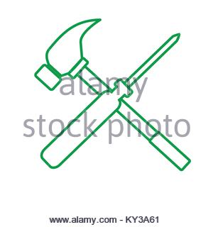 300x320 Simple Screwdriver Hammer Cross Drawing Vector Illustration