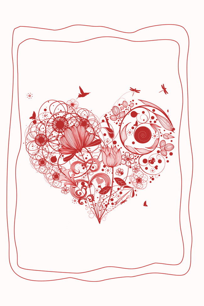 650x974 Creative Simple Heart Shaped Border Posters Psd Layered Background