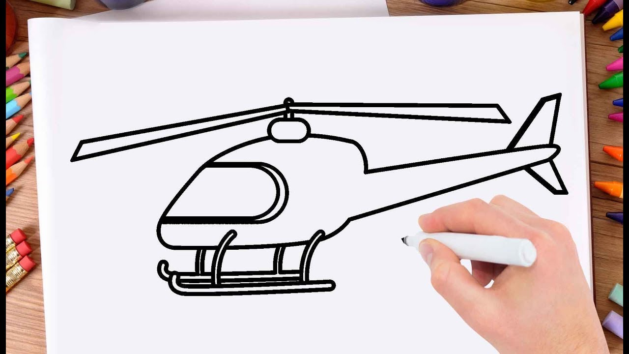 1280x720 How To Draw Helicopter Step By Step Drawing Helicopter Easy
