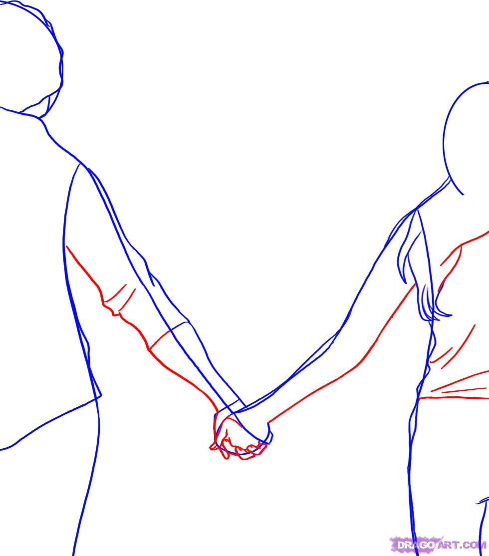 980x1114 Drawing Of Two People Holding Hands Simple Drawing Of People