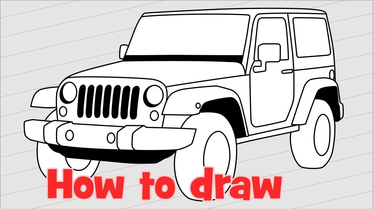 1280x720 How To Draw A Car Jeep Wrangler Rubicon