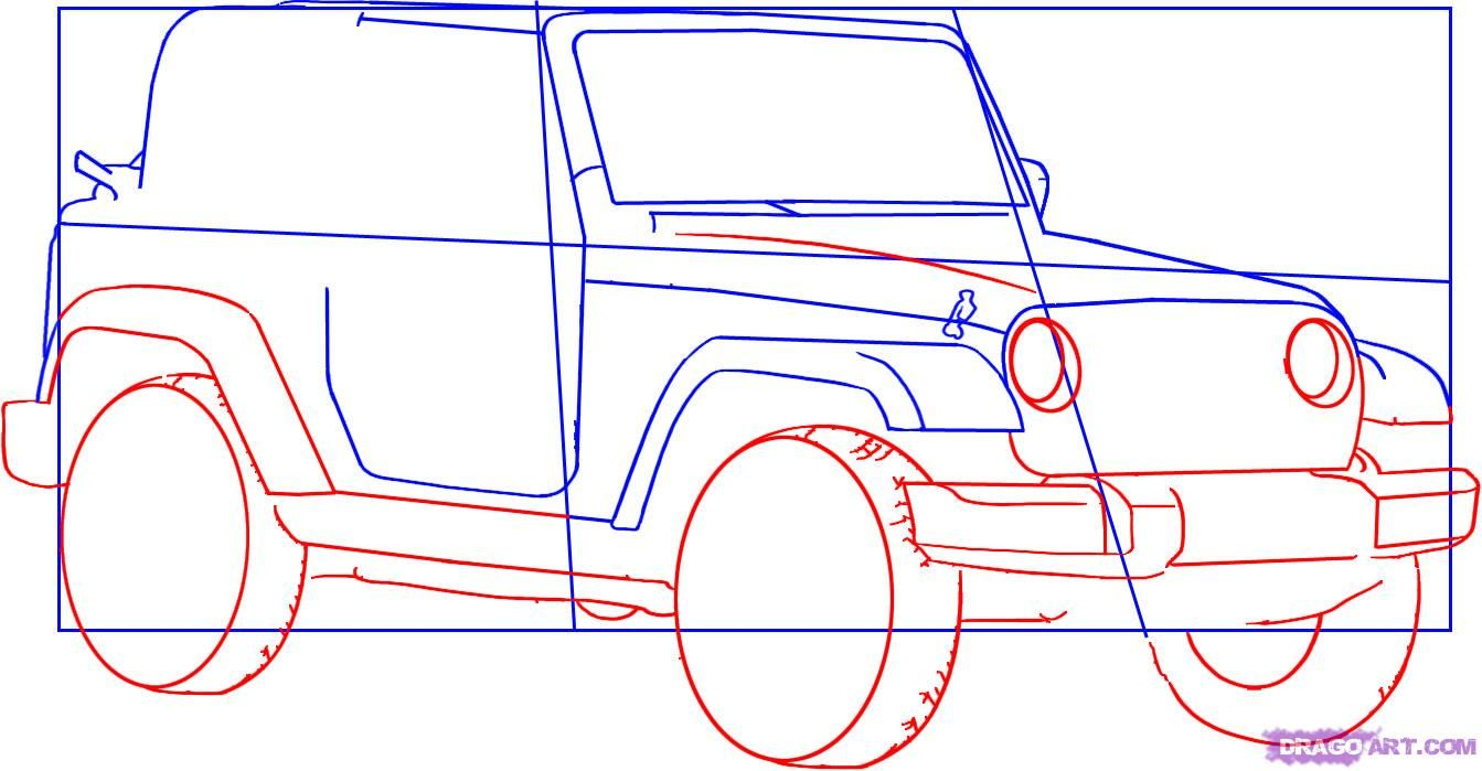 1343x699 How To Draw A Jeep Wrangler Step 3 Fave Jeeps