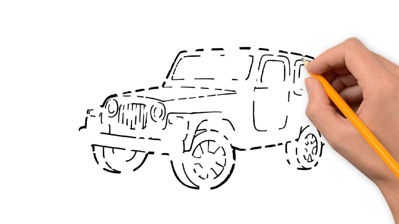 1280x720 Jeep Transport With A Pencil To Draw Step By Step