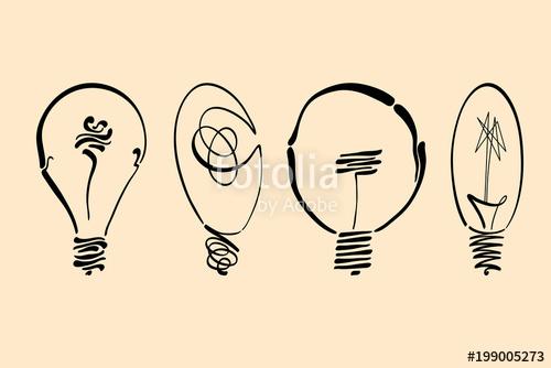 500x334 Light Bulb Vector Image, Hand Drawn Lightbulb Set Usable As Logo