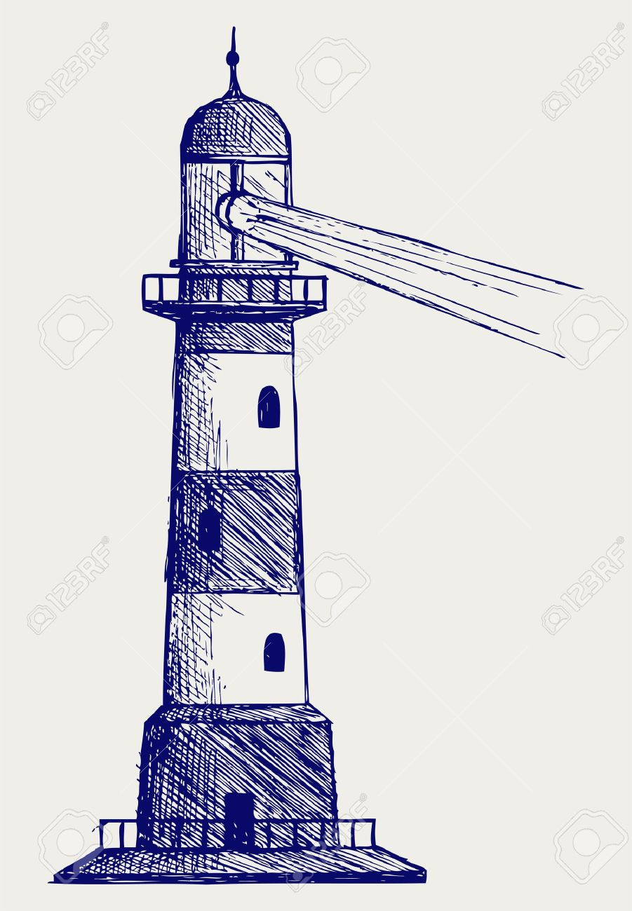 901x1300 Lighthouse. Doodle Style Royalty Free Cliparts, Vectors, And Stock
