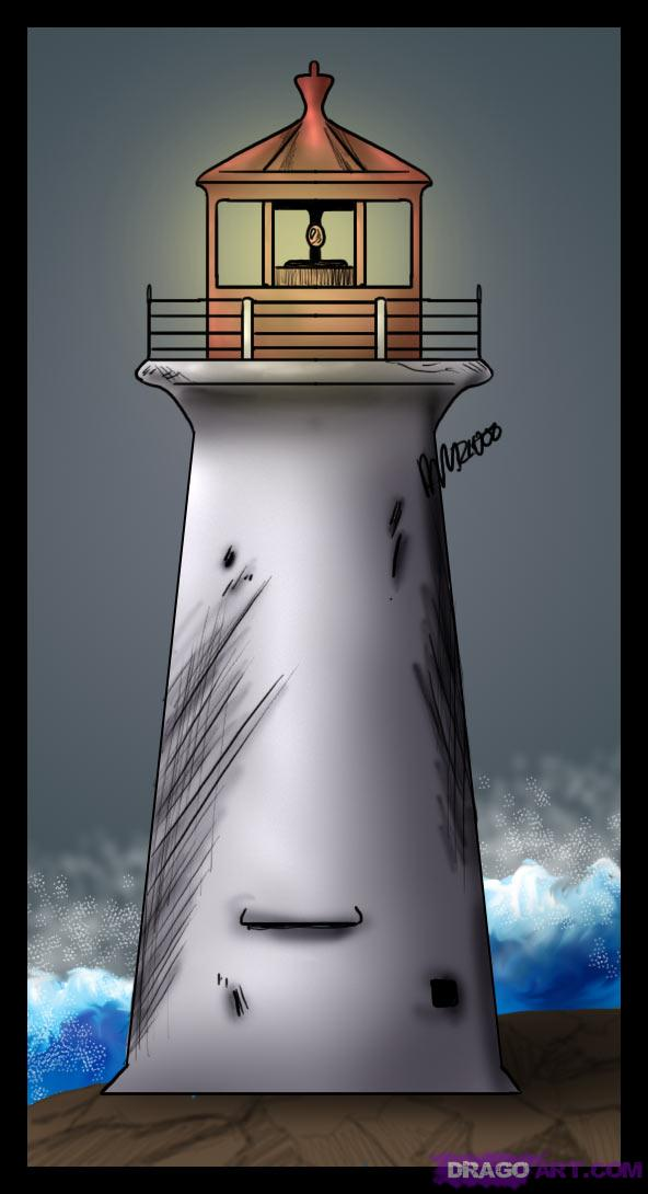 592x1090 How To Draw A Simple Lighthouse Artasic Art Amp Drawing Howtos