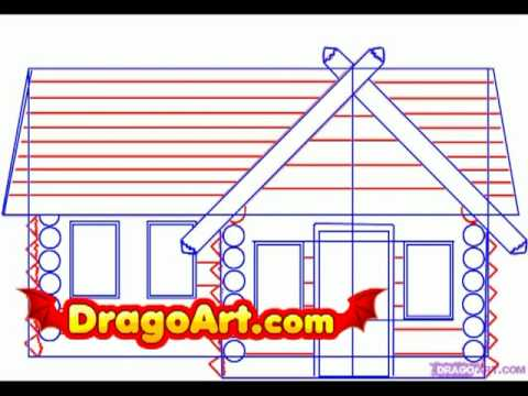 480x360 How To Draw A Log Cabin, Step By Step