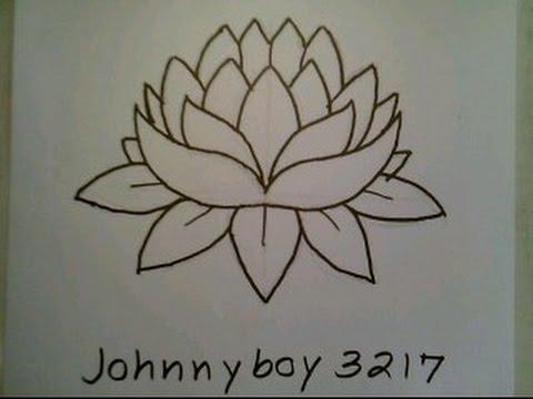 480x360 How To Draw A Lotus Flower Easy For Everyone Como Dibujar Una Flor