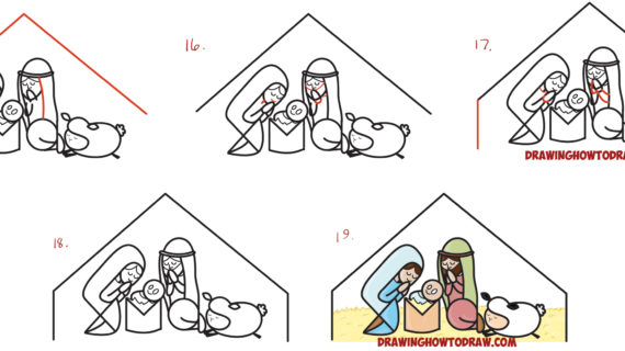 570x320 Simple Nativity Scene Drawing How To Draw Cartoon Nativity Scene