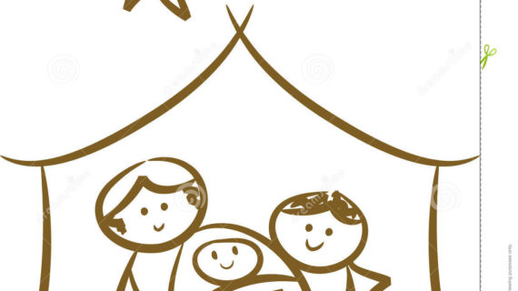 570x320 Simple Nativity Scene Drawing Simple Nativity Scene Stock Photo