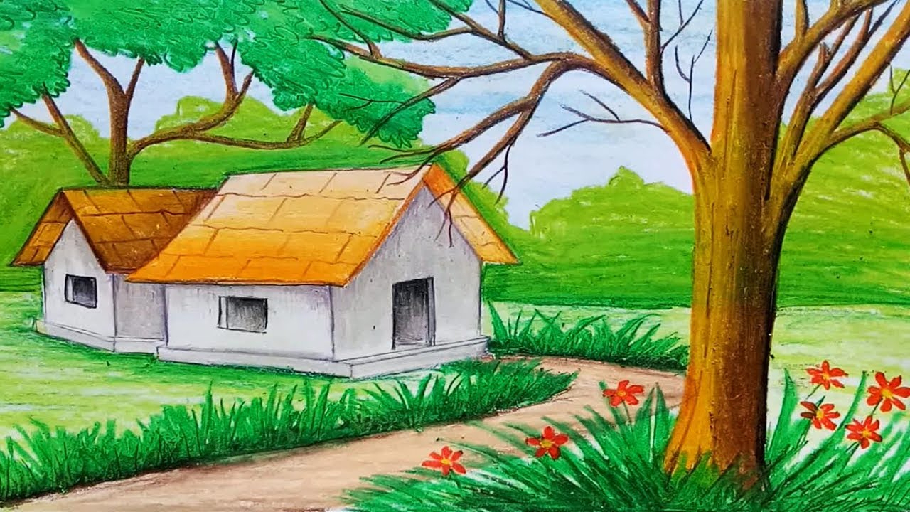 1280x720 Painting Drawing Of Nature Simple How To