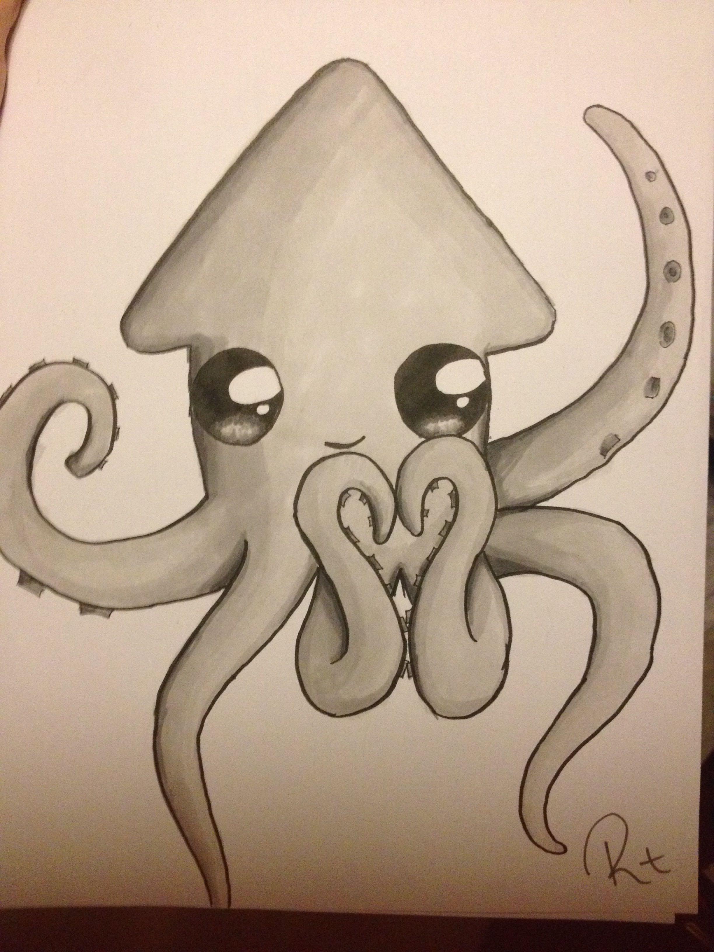 2448x3264 Cute Octopus Drawing