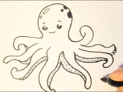 480x360 How To Draw An Octopushow To Draw Cartoon Charactersstep By Step
