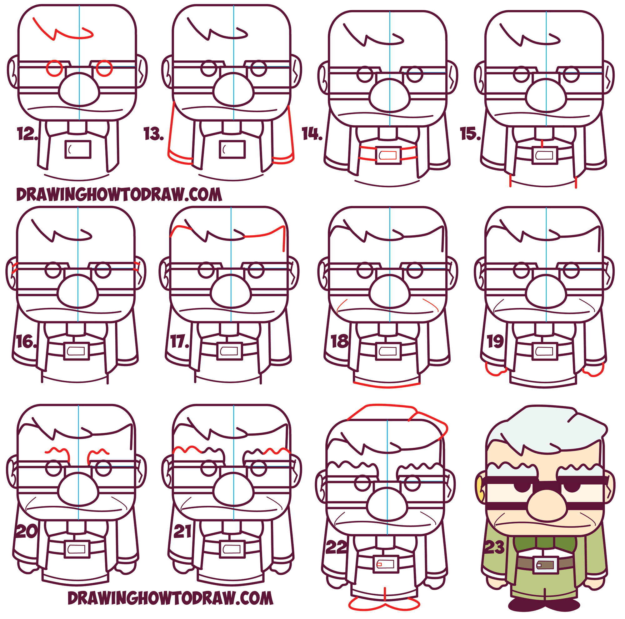 2000x1980 How To Draw Carl Fredricksen The Old Man From Pixar's Up (Cute