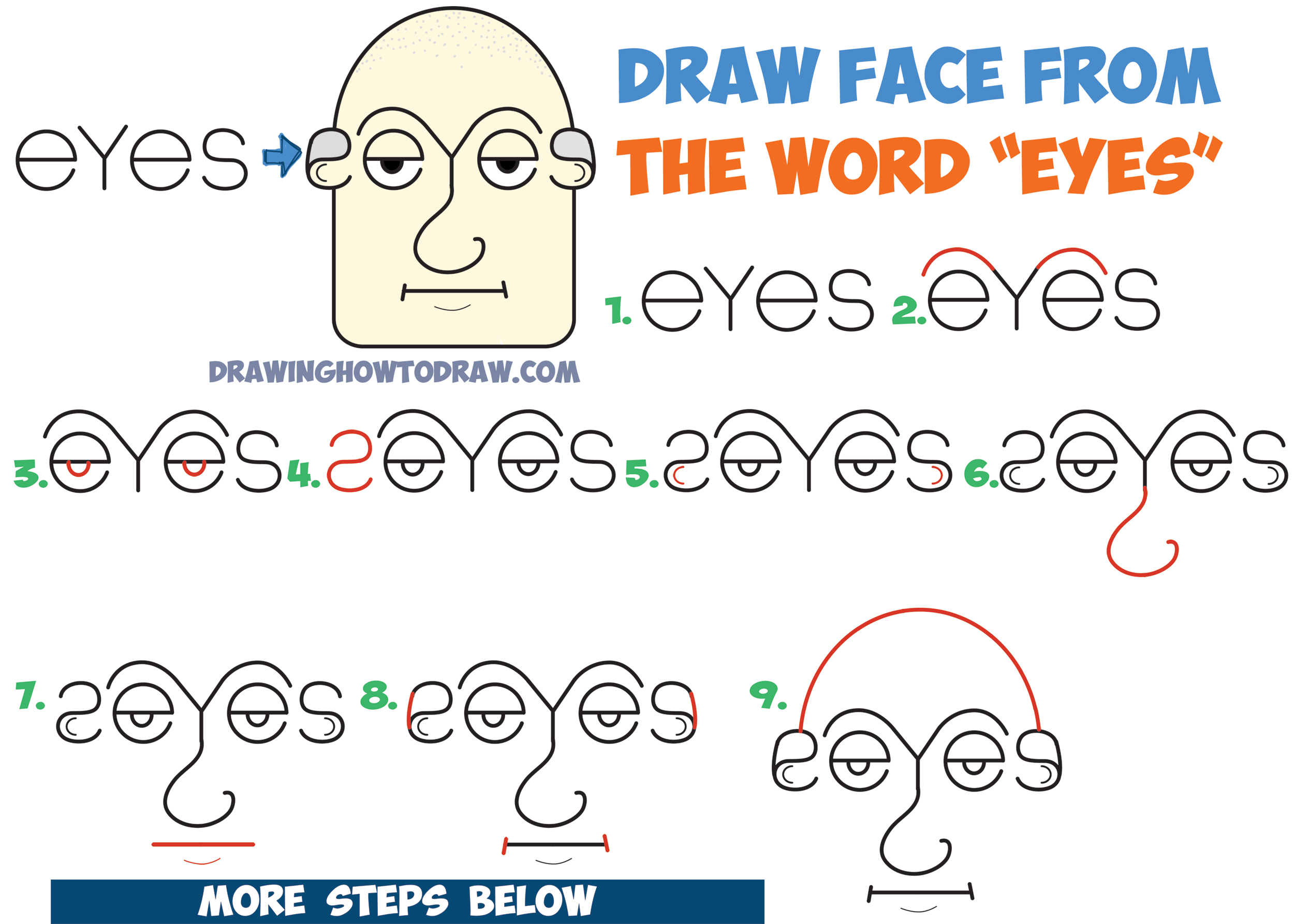 2500x1786 How To Draw Old Man's Face Head From The Word Eyes In Easy