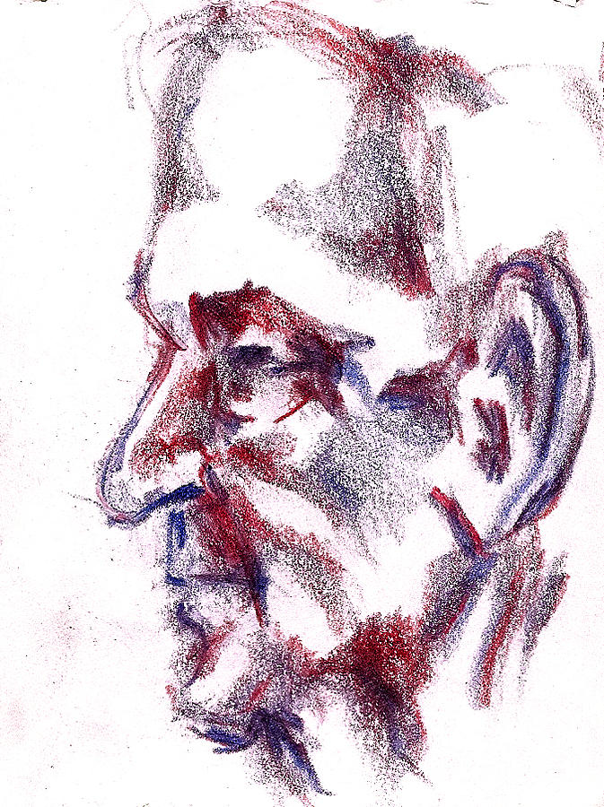 673x900 Old Man Profile Drawing By Dannielle Murphy