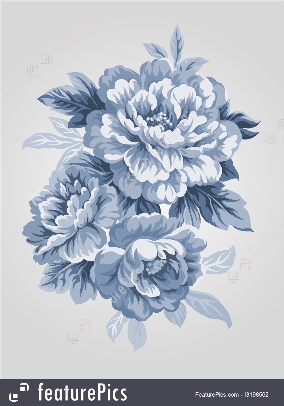 975x1392 Painting Art Hand Drawn China Blue Peony Bouquet