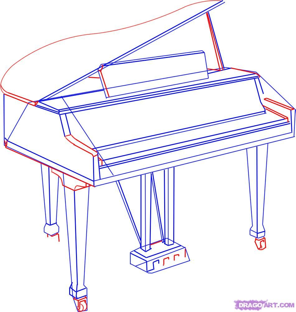 950x1002 How To Draw A Grand Piano For Kids Step By Step Piano