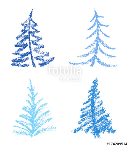438x500 Crayon Like Child's Drawing Style Of Merry Christmas Tree Set
