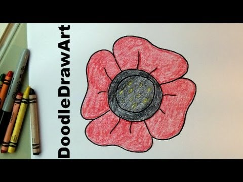 480x360 How To Draw An Easy Poppy For Kids. Video Drawing Tutorial