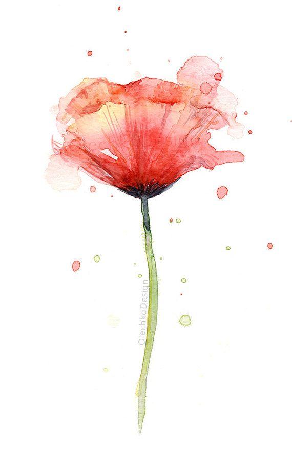 570x897 Red Poppy Watercolor, Flower Art Print, Poppies, Atmospheric