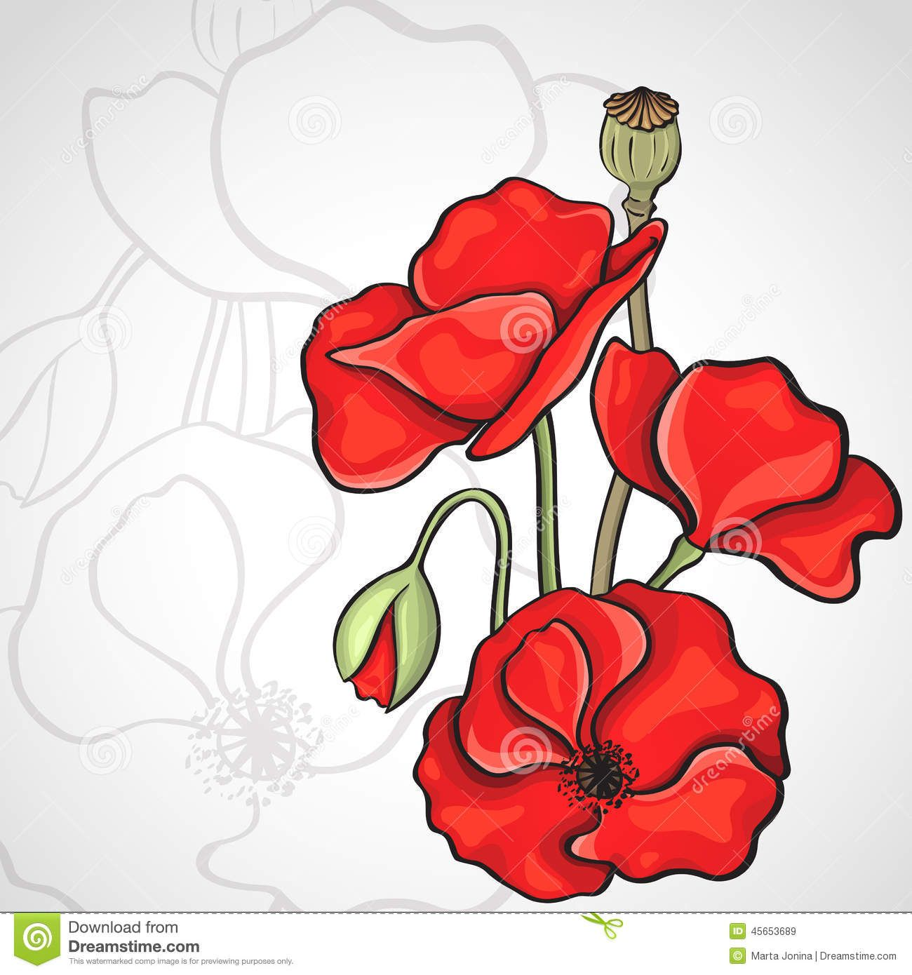 Simple Poppy Drawing at GetDrawings.com | Free for personal use ...