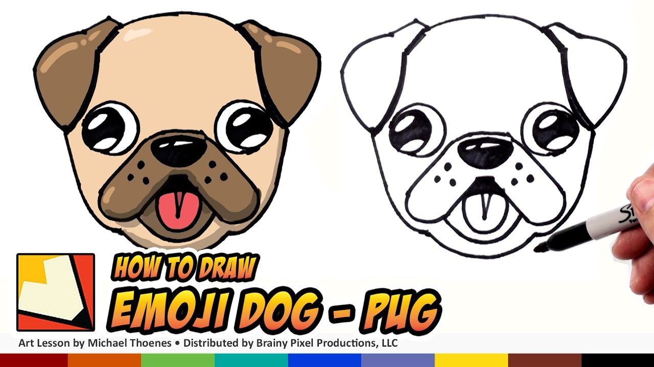 1280x720 How To Draw A Cute Dog Emoji Pug For Beginners Step By Step Bp