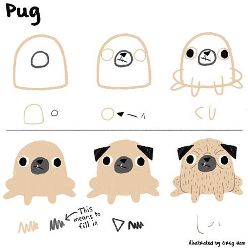 500x500 How To Draw A Pug Using Very Basic Shapes Like Ed Emberley Style
