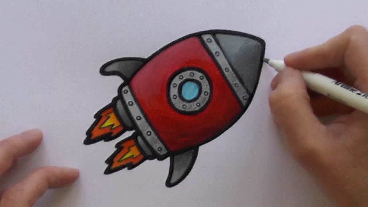 1280x720 How To Paint And Colour A Cartoon Rocketship