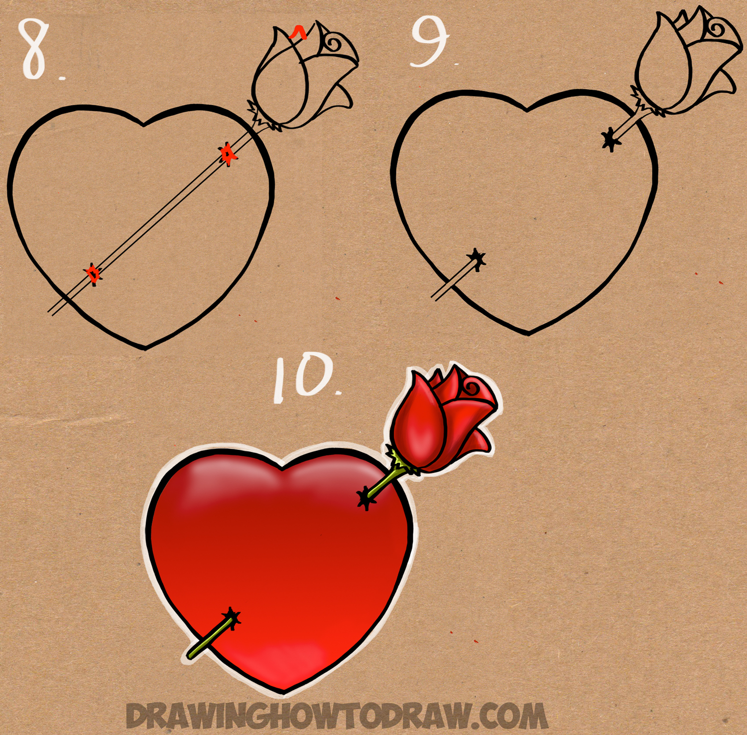 1500x1474 How To Draw A Heart With A Rose Piercing It Like An Arrow