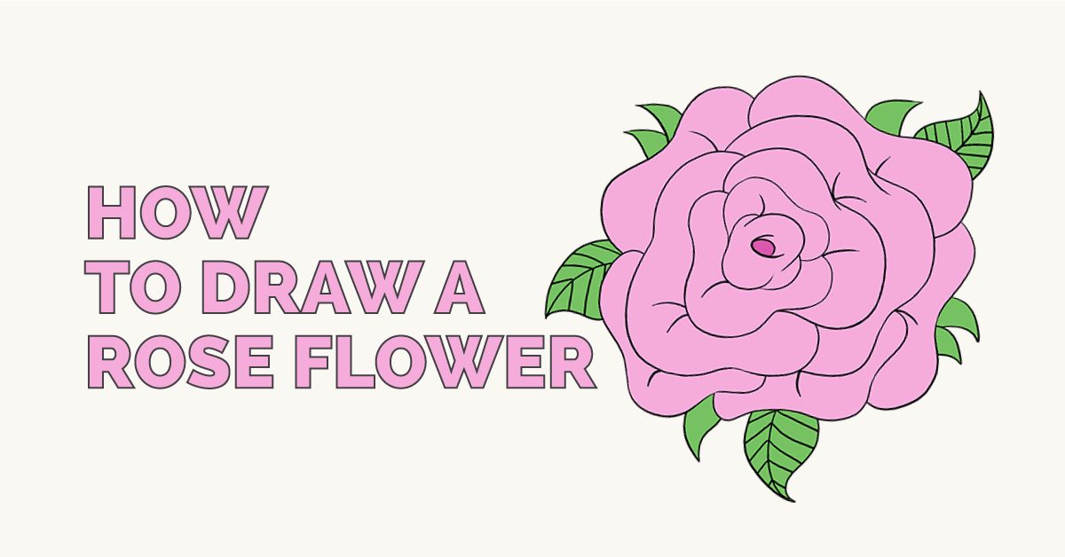 1200x628 How To Draw A Rose Flower Easy Drawing Tutorial, Drawing Guide