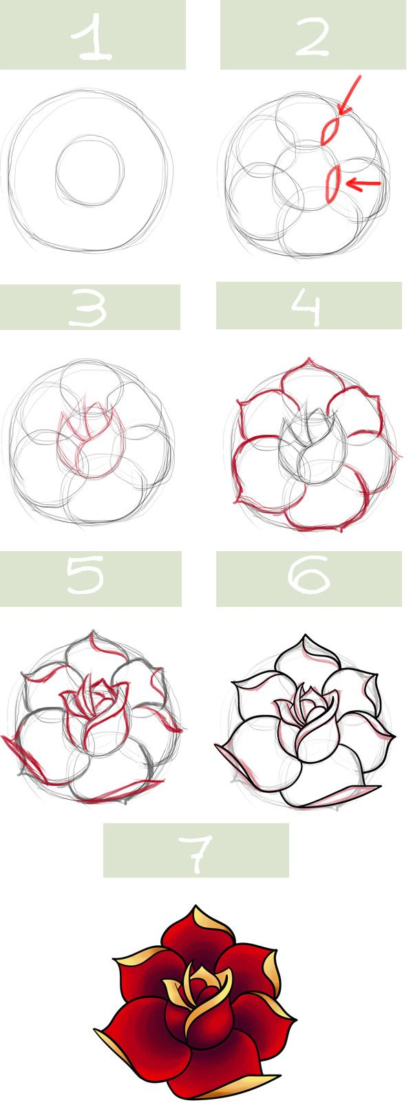 600x1620 Simple Roses. My Kids Always Draw Roses I Must Show Them This
