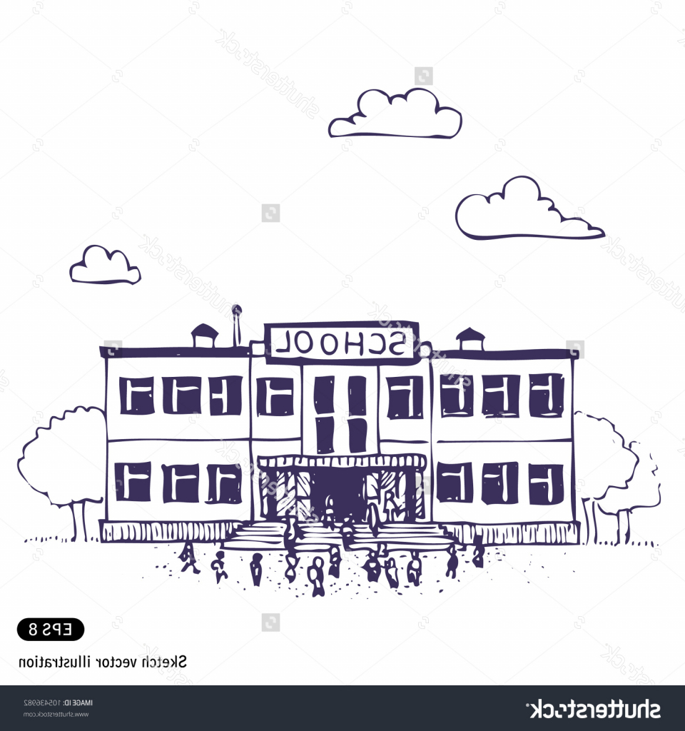 960x1024 Simple School Sketch Simple Drawing Of A School School Building