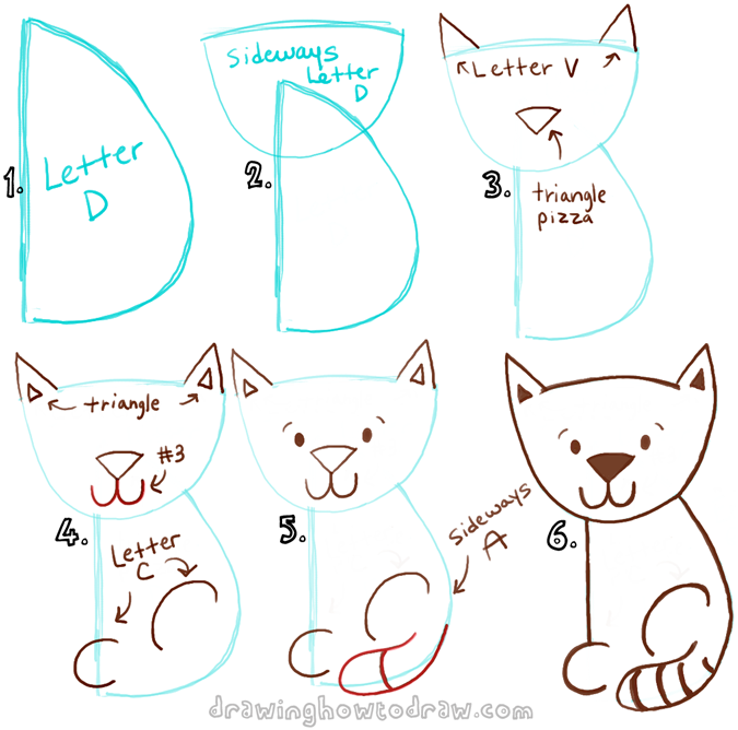 675x668 Big Guide To Drawing Cartoon Cats With Basic Shapes For Kids