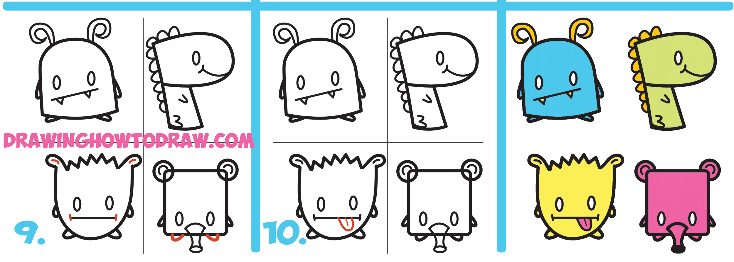 2500x894 Shapes Drawing For Kids How To Draw Cute Cartoon Monsters
