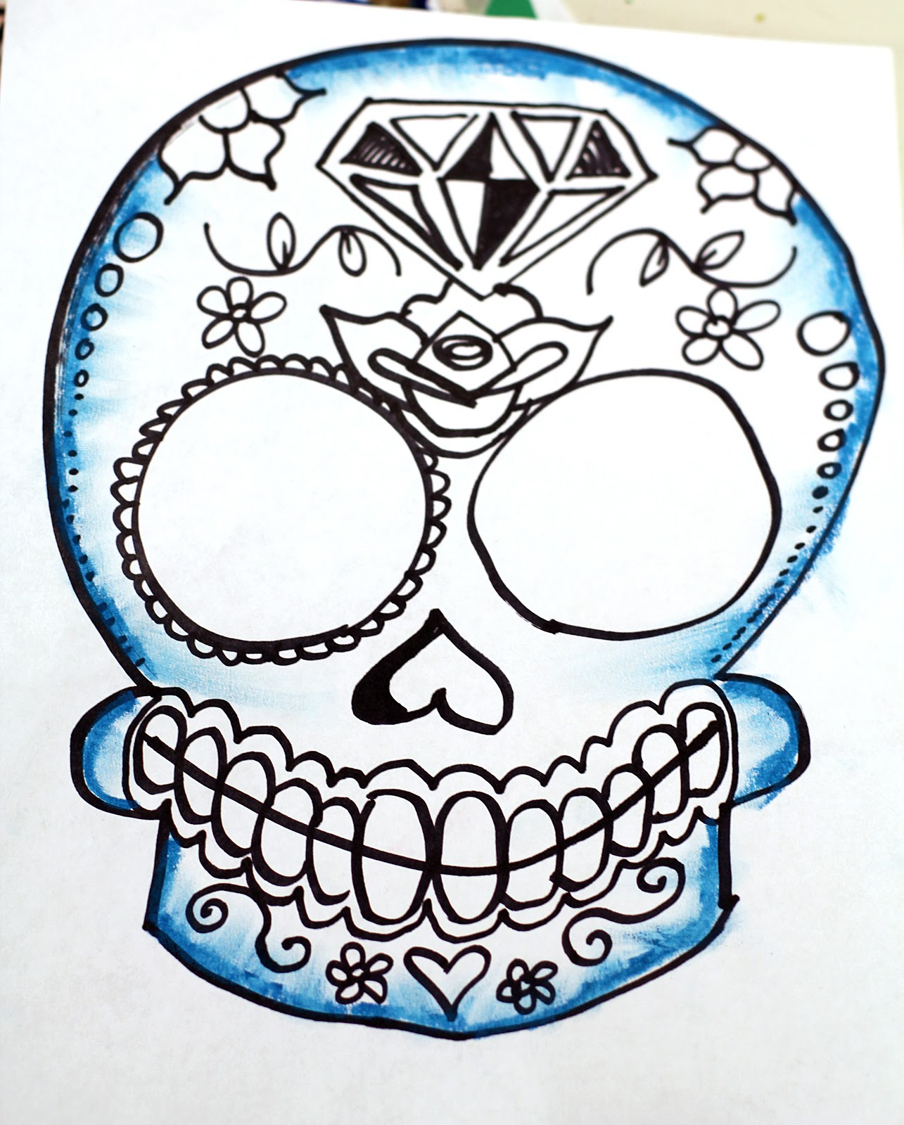 1285x1600 Simple Sugar Skull Drawing Sad Flower That Are Easy To Draw
