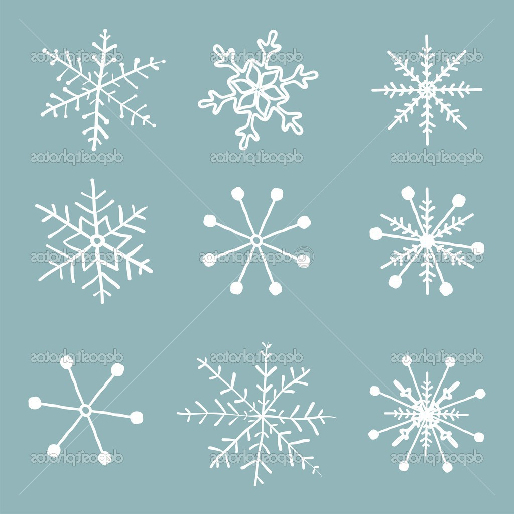 1024x1024 Snowflakes Drawing Realistic Simple Snowflake Drawing Set