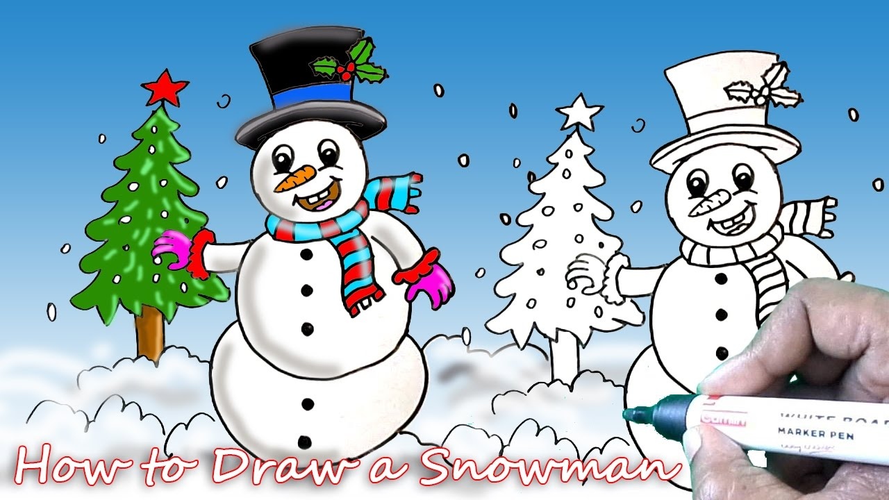 1280x720 How To Draw The Snowman Simple Drawing Tutorial For Beginners