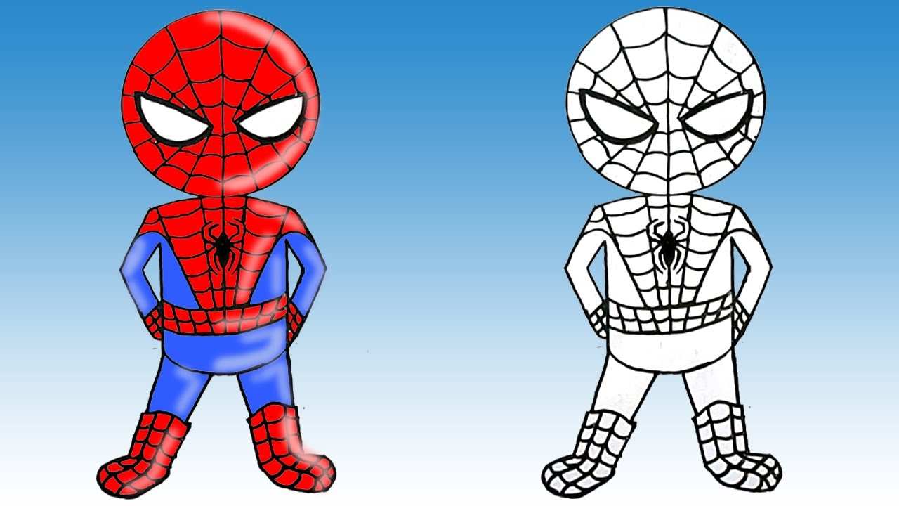 1280x720 How To Draw Spiderman Cute Step By Step Easy Fun To Draw For Kids