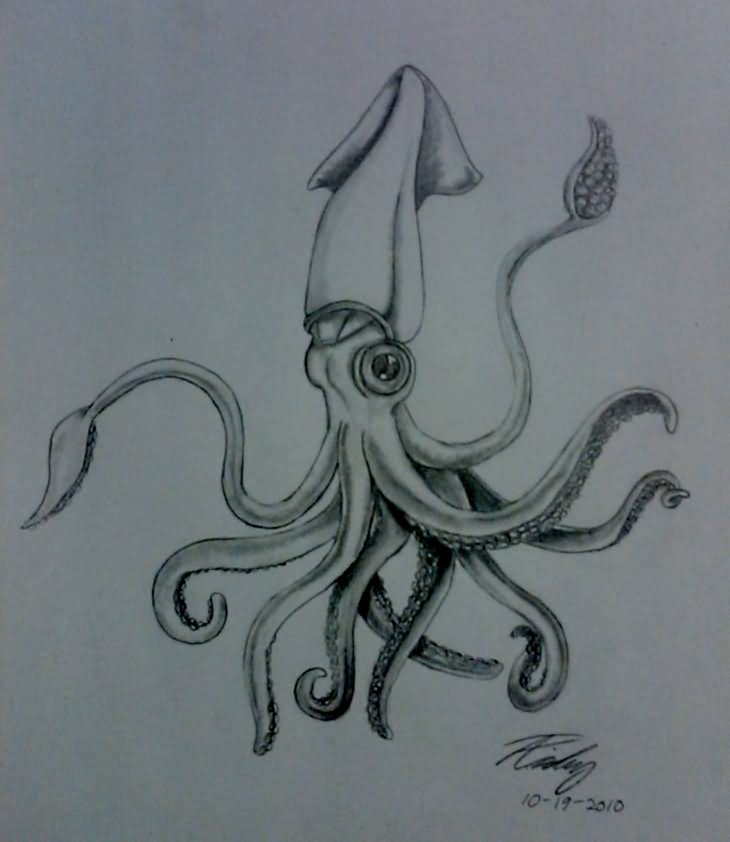 730x842 Best Squid Tattoo Designs