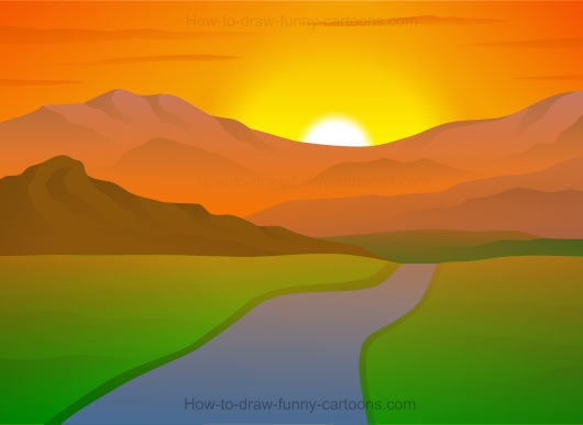Simple Sunset Drawing At Getdrawings