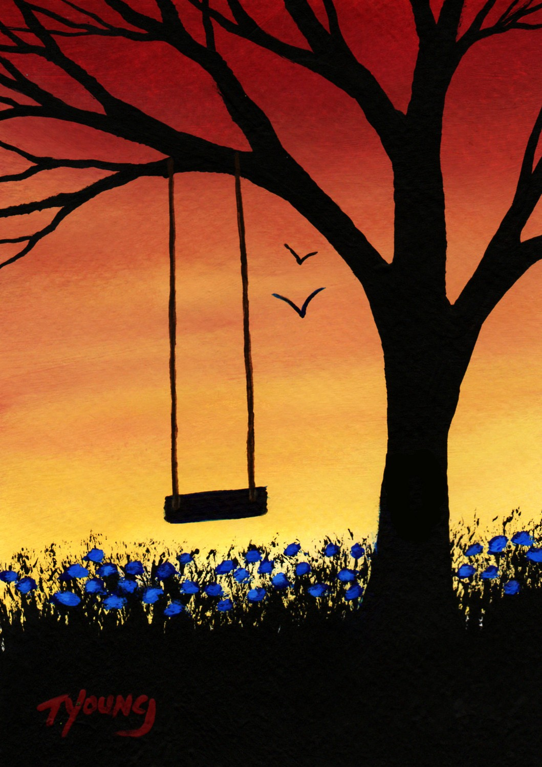 1059x1499 Tree Swing Modern Folk Art Print Of Todd Young Painting Last Days