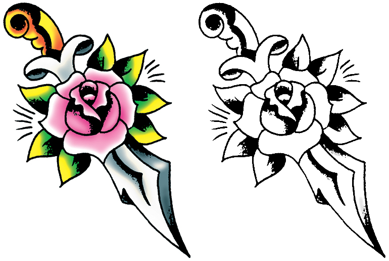 Traditional Tattoo Line Drawing : Simple tattoo drawing at getdrawings free for personal use
