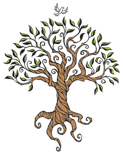 425x538 Simple Tree With Roots Drawing Colored Tree Drawing With Roots